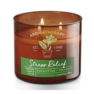 Bath & Body Works® Aromatherapy STRESS RELIEF - EUCALYPTUS & SPEARMINT 3-Wick Candle