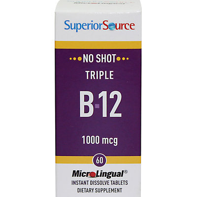 Superior Source No Shot Triple B-12 - 1000 mcg - 60 Instant Dissolve Tablets