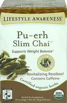 Tadin Lifestyle Awareness Organic Pu-erh Slim Chai Tea-20 Bags