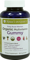 Natures Dynamics Nature's Dynamics - Body Boost Women Organic Multivitamin Whole Food Gummy Green Apple & Raspberry - 60 Gummies