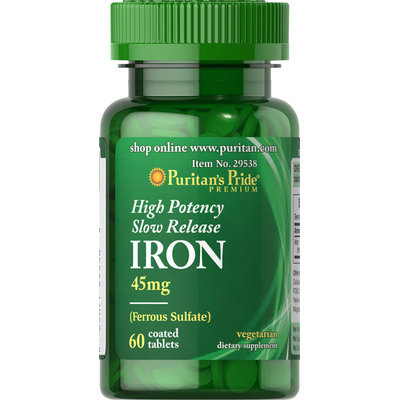 Puritan's Pride 2 Units of High Potency Iron 45 mg Slow Release-60-Tablets