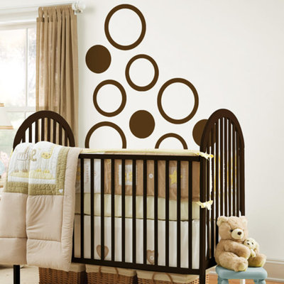 WallPops - Concentric Dots 4-Piece Set, Espresso Brown