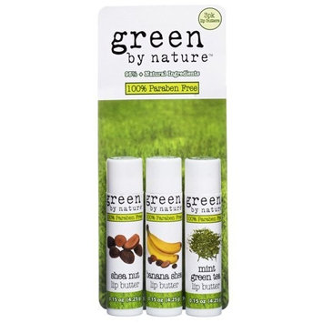 Green By Nature 3-Pack Lip Butter Pouch, Shea Nut, Banana Nut and Mint Green Tea, .15-Ounce Each in a Pouch (Pack of 2)