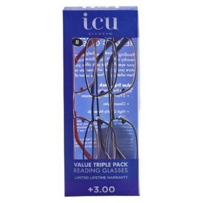 ICU Eyewear ICU 3-Pack Metal Reading Glasses - +3.00