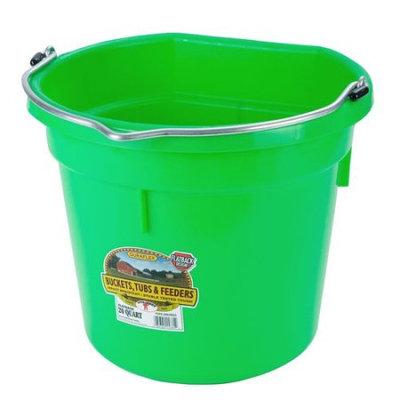 Miller Mfg Inc Miller Mfg Co Inc Flat Back Plastic Bucket- Lime Green 20 Quart - P20FBLIMEGREEN