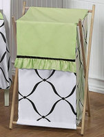 Sweet Jojo Designs Princess Black, White and Green Collection Laundry Hamper