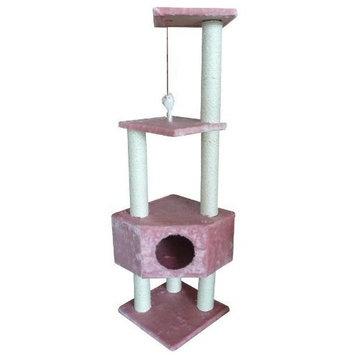 BestPet Cat Tree Condo Scratcher, 52-Inch, Pink