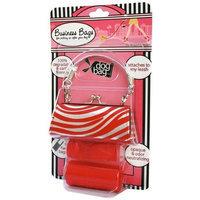 Doggie Walk Bags 2-Roll Newport Bag, Red Zebra/Silver