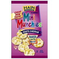 Hain Pure Snax Mini Munchies Mini Rice Snacks, White Cheddar, 3-Ounce Bags (Pack of 12)