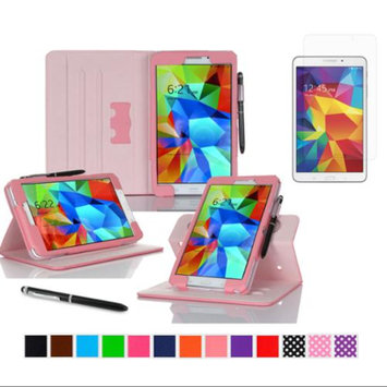 rooCASE Samsung Galaxy Tab 4 8.0 SM-T330 Tablet Case - Dual View Multi-Angle Stand Cover Pen Stylus with Ultra HD Plus Anti-Fingerprint Bubble Free Clear Screen Protector for Tab4 8