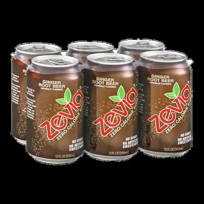 Zevia Zero Calorie Soda Ginger Root Beer - 6 CT