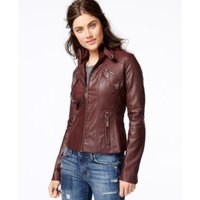 black jacket Jou Jou Faux-Leather Band-Collar Moto Jacket