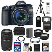 Canon EOS 70D Digital SLR Camera & EF-S 18-135mm IS STM Lens with 75-300mm III Lens + 32GB Card + Battery + Case + Filters + Tripod + Flash + Tele/Wide Lenses + Accessory Kit