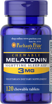 Puritan's Pride Chewable Melatonin Nighttime Sleep Aid 3 mg-120 Chewables