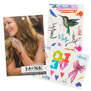 glimmer body art LUXE Watercolor Temporary Tattoo Sheets