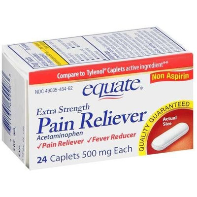 Equate - Pain Reliever Extra Strength, Fever Reducer, Acetaminophen 24 Caplets (Compare to Tylenol)