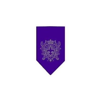 Ahi Fleur De Lis Shield Rhinestone Bandana Purple Small