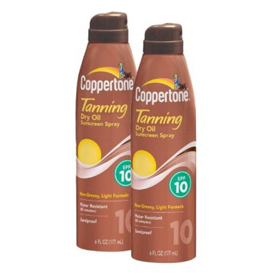 Coppertone Dry Oil Sunscreen Spray Set with SPF 10 - 2 Pack
