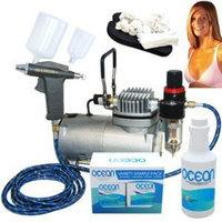 Complete Professional Turbo Tan Airbrush Sunless Tanning System with a Trigger Style Gravity Feed Airbrush Gun plus a Pint of 8.5% DHA Solution with Medium Bronzer, a 4 Solution Variety Pack (1 Pint Total), and an Accessories Kit