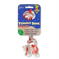 Aspen Pet Products Aspen Pet X-Small 2 Knot Yummy Rope Bone, Steak Flavored