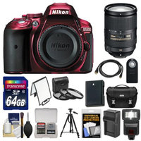 Nikon D5300 Digital SLR Camera Body (Red) with 18-300mm VR Zoom Lens + 64GB Card + Case + Flash + Battery & Charger + Tripod Kit