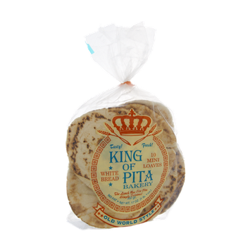 King Of Pita Bakery White Bread Mini Loaves Pitas- 10 CT