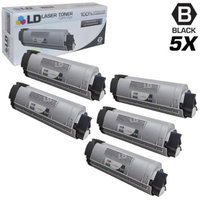 LD Compatible Replacements for Okidata 43324404 (Type C8) Set of 5 High Yield Black Laser Toner Cartridges for use in Okidata OKI C5500n, C5650dn, C5650n, C5800, C5800Ldn, and C5800n Printers