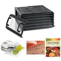 Excalibur Dehydrator 5-Tray Clear Door w/Timer + Oliso Pro-1000 Vacuum Sealer Starter Kit + Accessory Kit