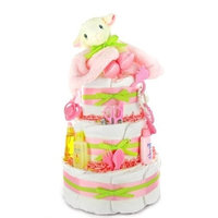 Cashmere Bunny Little Lamb New Baby Girl Diaper Cake - Great Baby Shower Gift Idea for Newborns