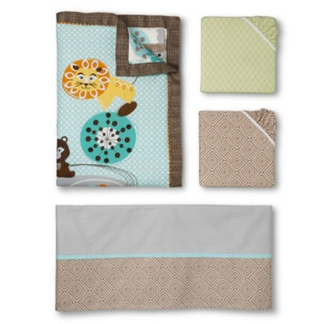 Lolli Living Zig Zag Zoo 4pc Crib Bedding Set
