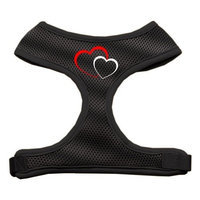Mirage Pet Products 7011 SMBK Double Heart Design Soft Mesh Harnesses Black Small