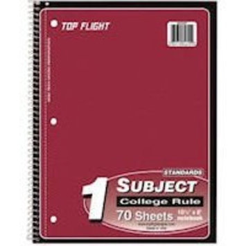 Top Flight Standards 1-Subject Wirebound Notebook, 70 Sheets, 3-Hole Punched, College Rule, 10.5 x 8 Inches, 1 Notebook, Color May Vary (31710)