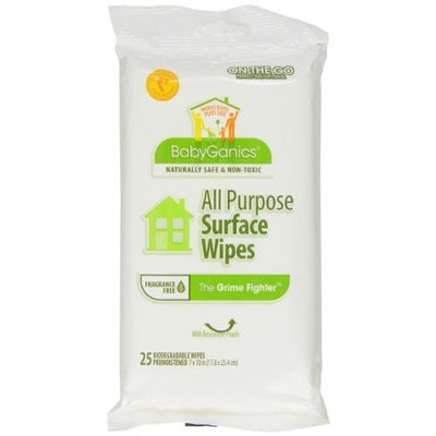 BabyGanics The Grime Fighter All Purpose Wipes On-the-Go, Unscented, 25-count Pouch (Pack of 3), Packaging May Vary