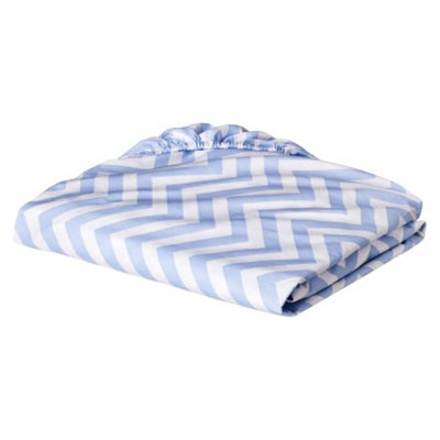 Fitted Crib Sheet - Blue Chevron by Circo