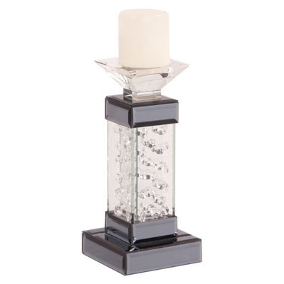 Howard Elliott 99051 Small Pedestal Candle Holder in Mirrored with Glass Crystal