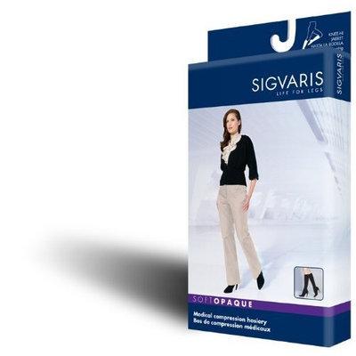 Sigvaris 841C Soft Opaque 15-20 mmHg Closed Toe Knee Highs Size: Medium Short (MS), Color: Black 99