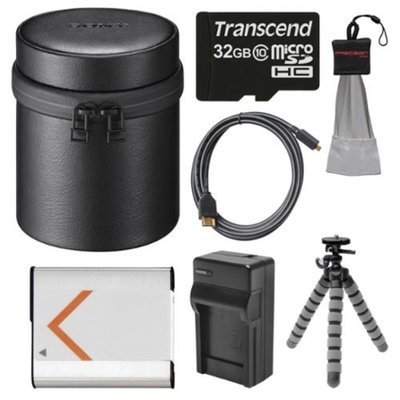 Sony LCS-BBL Carrying Case for DSC-QX100 Camera (Black) with 32GB Card + Battery & Charger + Flex Tripod + HDMI Cable