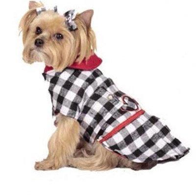Max's Closet Buffalo Plaid Dog Coat in Black/White Size: Small