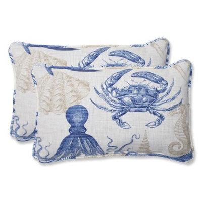 Pillow Perfect Outdoor 2-Piece Rectangular Throw Pillow Set - Blue/Tan Sealife