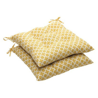 Pillow Perfect Outdoor 2-Piece Tufted Chair Cushion Set - Yellow/White Geometric