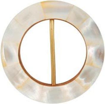 Vision Trims Handmade Mop Buckle Circle-Pearl White