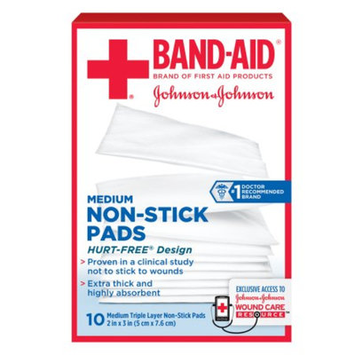 Band-Aid First Aid Covers Non-Stick Pads, Medium, 10 ea