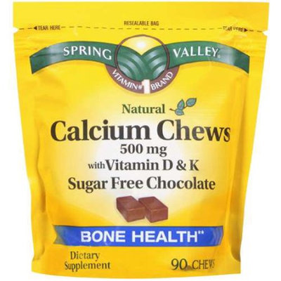 Spring Valley Calcium Chews Sugar Free Chocolate 500 Mg Dietary Supplement 90 Ct