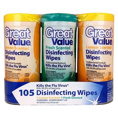 Great Value Fresh/Lemon Scented Disinfecting Wipes, 35 sheets, 3 count