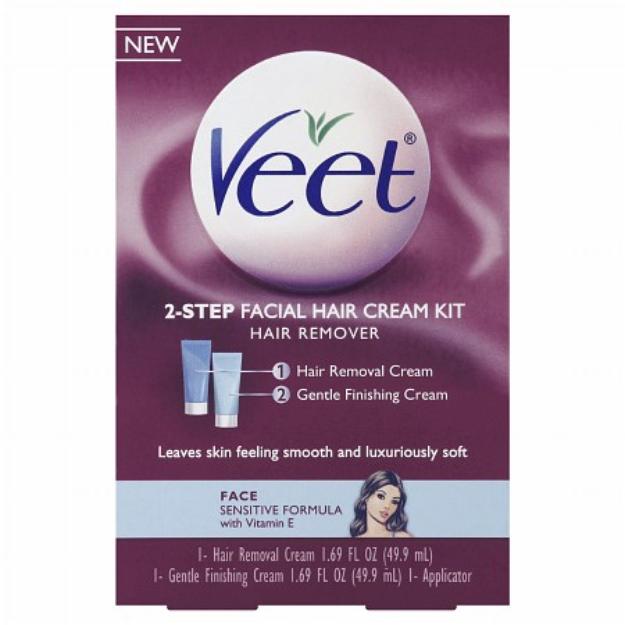 Veet Facial Hair Cream Kit, 1 ea