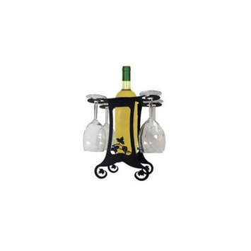Village Wrought Iron WRC-B-157 Wine Caddy for Four Grapevine Design