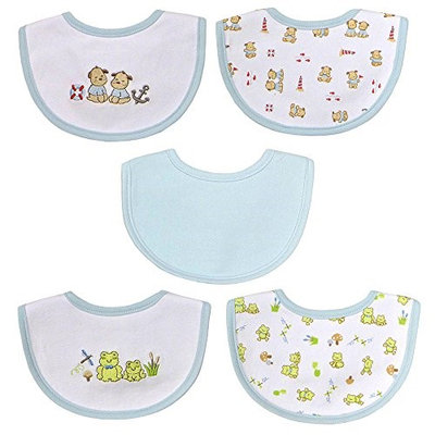 Hamco Newborn Boy 5 Pack Embroidered Bib Set