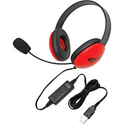 Califone International, Inc. Califone Red Stereo Headphone w/ Mic, USB Connector Via Ergoguys