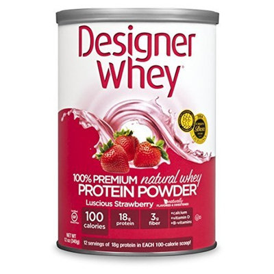 Next Proteins DESIGNER WHEY 100% Premium Whey Protein Powder, Luscious Strawberry, 12 Ounce Canister
