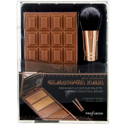 PROFUSION Milk Chocolate Glamour Bar Highlight & Contour Palette With Face Brush